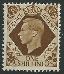 SG475 1/- Bistre-Brown Unmounted Mint (George VI 1937 Definitive Stamps)